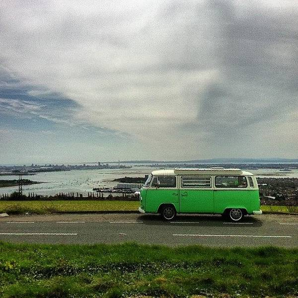Vw Kombi Photograph - Sat Up Portsdown Hill Over Looking by Jimmy Lindsay