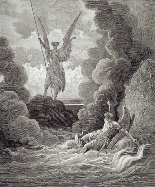 Wall Art - Painting - Satan And Beelzebub by Gustave Dore