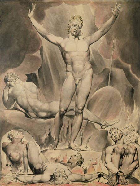 Satan Painting - Satan Arousing The Rebel Angels, 1808 by William Blake