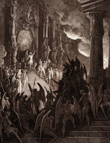 Dor Drawing - Satan In Council, By Gustave DorÉ. Dore by Litz Collection