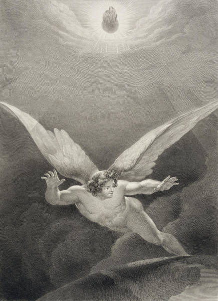 Wall Art - Drawing - Satan Leaps Over The Walls Of Heaven by Richard Edmond Flatters