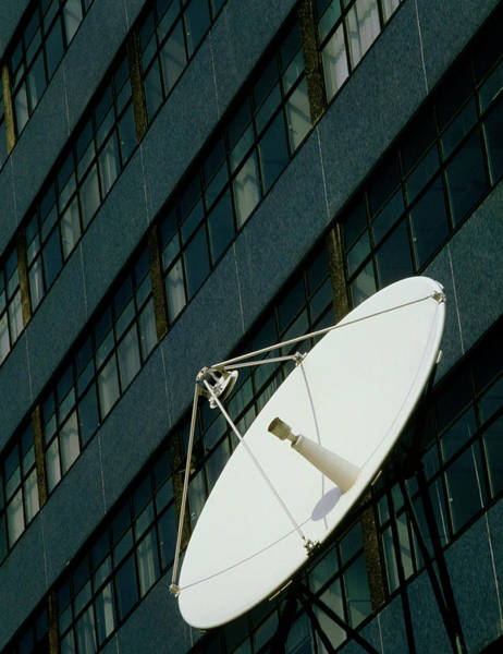Satellite Dish Photograph - Satellite Dish Outside Tower Block In London by Alex Bartel/science Photo Library