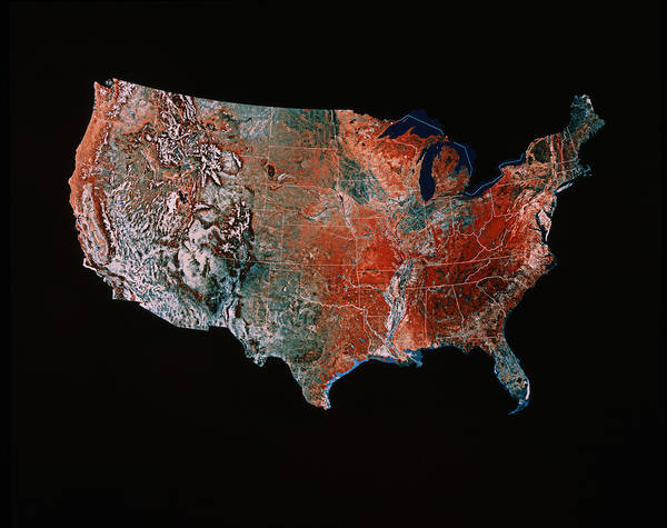 Cartography Photograph - Satellite Image Of The Usa by Us Geological Survey/science Photo Library