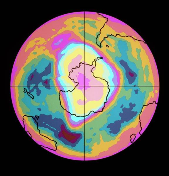 Ozone Layer Photograph - Satellite Map Of Antarctic Ozone Hole by Nasa, Coloured By John Wells/science Photo Library
