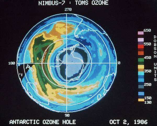 Ozone Layer Photograph - Satellite Map Of Ozone Hole Over Antarctic by Nasa/science Photo Library