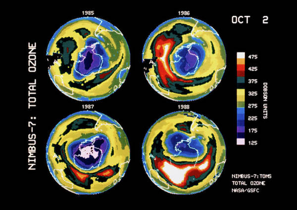 Ozone Layer Photograph - Satellite Maps Showing Variation In The Ozone Hole by Nasa/science Photo Library