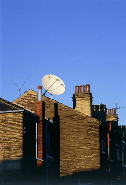 Satellite Dish Photograph - Satellite Receiving Dish Of House Roof by Adam Hart-davis/science Photo Library