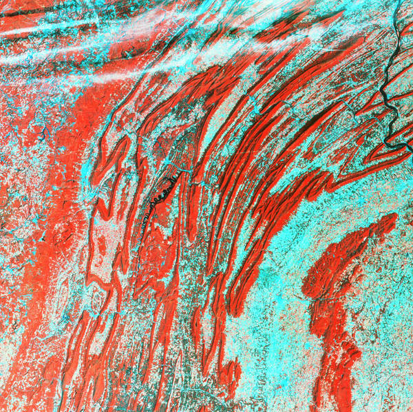 Allegheny Mountains Wall Art - Photograph - Satellite View Of Appalachian Fold Mountains by Mda Information Systems/science Photo Library
