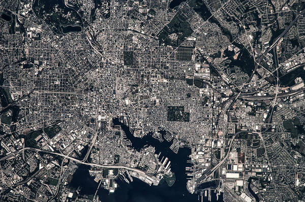 Patapsco Photograph - Satellite View Of Baltimore, Maryland by Panoramic Images