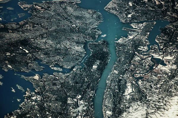 Stratosphere Wall Art - Photograph - Satellite View Of Cities Of New York by Panoramic Images