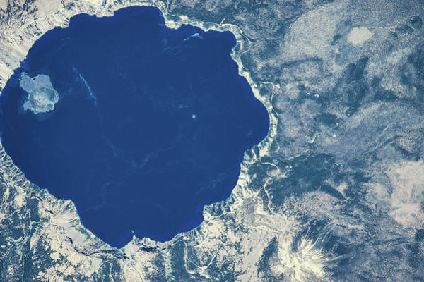 Iss Photograph - Satellite View Of Crater Lake, Oregon by Panoramic Images