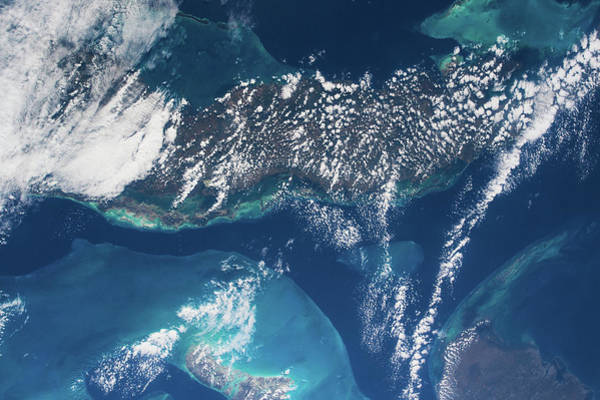 Iss Photograph - Satellite View Of Cuban Islands by Panoramic Images