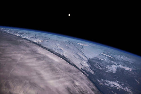 Iss Photograph - Satellite View Of Earth With Moon by Panoramic Images