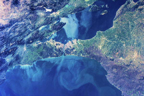 Bosphorus Bridge Photograph - Satellite View Of Istanbul With Sea by Panoramic Images