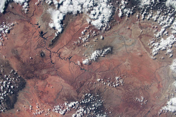 Iss Photograph - Satellite View Of Lake Powell by Panoramic Images