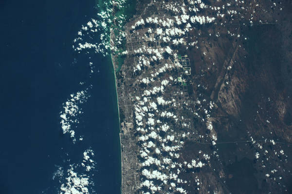 Iss Photograph - Satellite View Of Miami Along Atlantic by Panoramic Images