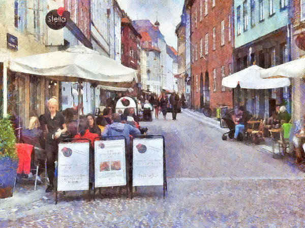 Digital Art - Saturday Brunch At A Copenhagen Cafe by Digital Photographic Arts
