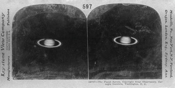 Stereogram Photograph - Saturn In 1911 by Us Naval Observatory/science Photo Library