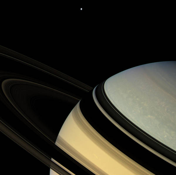 Dione Photograph - Saturn by Nasa/jpl/ssi/science Photo Library