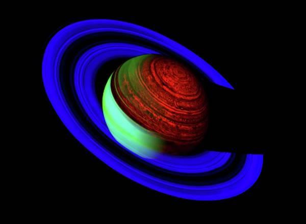 Infrared Radiation Photograph - Saturn by Nasa/jpl/u.arizona/science Photo Library