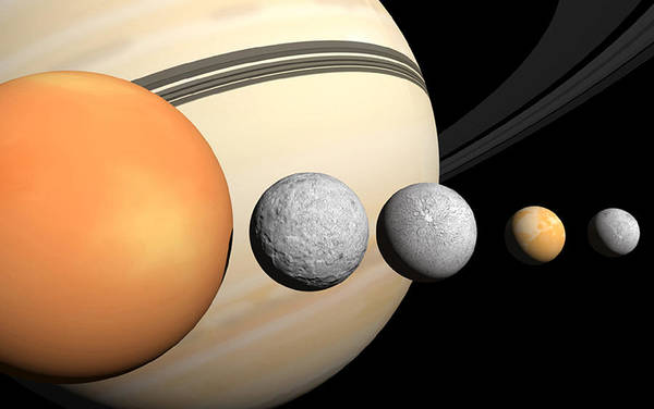 Dione Photograph - Saturns Larger Moons by Steve A. Munsinger