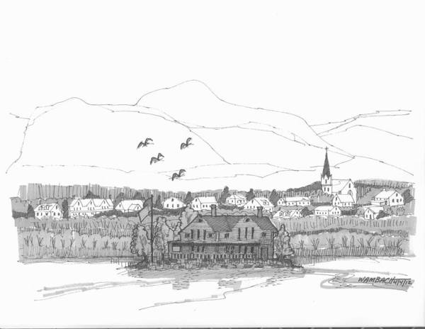 Drawing - Saugerties From Tivoli by Richard Wambach