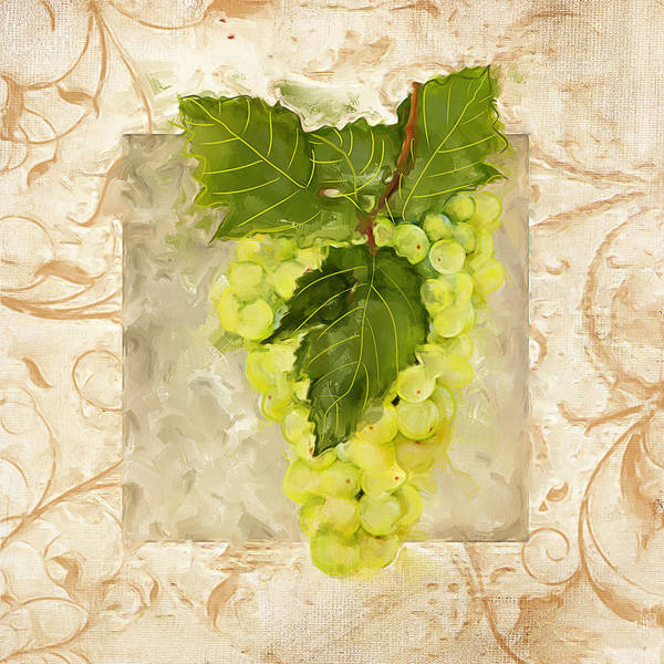 Bread And Wine Painting - Sauvignon Blanc by Lourry Legarde