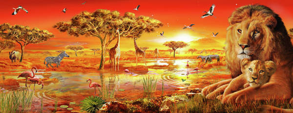 Wall Art - Painting - Savanna Sundown by MGL Meiklejohn Graphics Licensing
