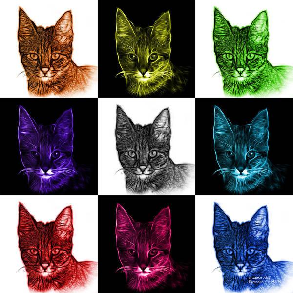 Digital Art - Savannah Cat - 5462 F - V2 by James Ahn