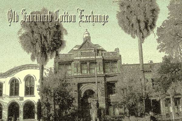 Drawing - Old Savannah Cotton Exchange by Peter Potter