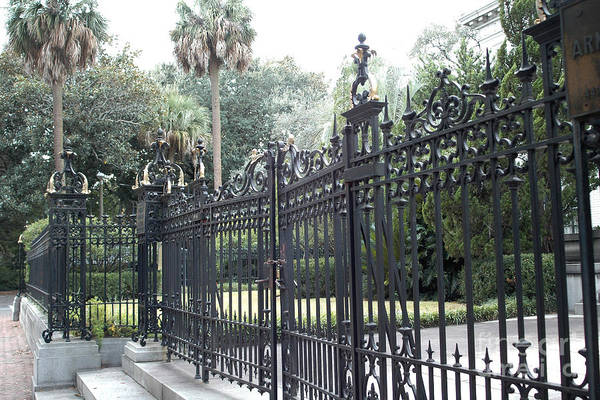 Street Rod Photograph - Savannah Georgia Mansion With Black Rod Iron Gates by Kathy Fornal
