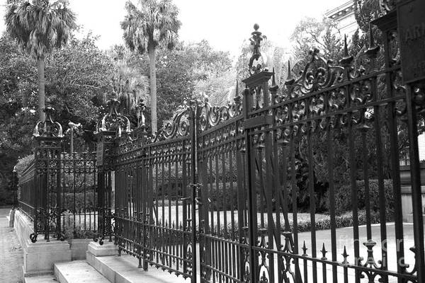 Street Rod Photograph - Savannah Mansions Black And White Rod Iron Gate - Savannah Black Gate Architecture by Kathy Fornal