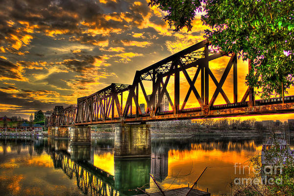 Photograph - Sunset On The Iron Works 6th Street Railroad Bridge Augusta Georgia Art by Reid Callaway