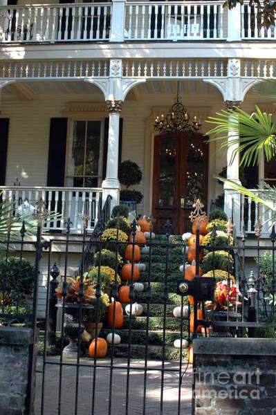 Pumkin Wall Art - Photograph - Savannah Victorian Home Fall Pumpkins Mums  by Kathy Fornal