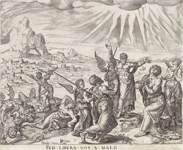 Wall Art - Drawing - Save Us From The Grip Of Evil, Philips Galle Johannes Wierix by Philips Galle Johannes Wierix
