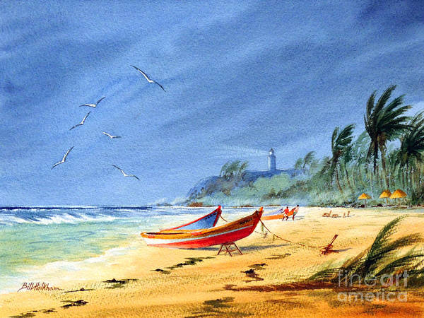 Wall Art - Painting - Saving The Fishing Boats - Maunabo Beach Puerto Rico by Bill Holkham