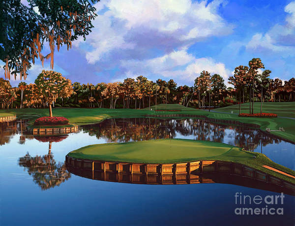 Course Wall Art - Painting - Sawgrass 17th Hole by Tim Gilliland