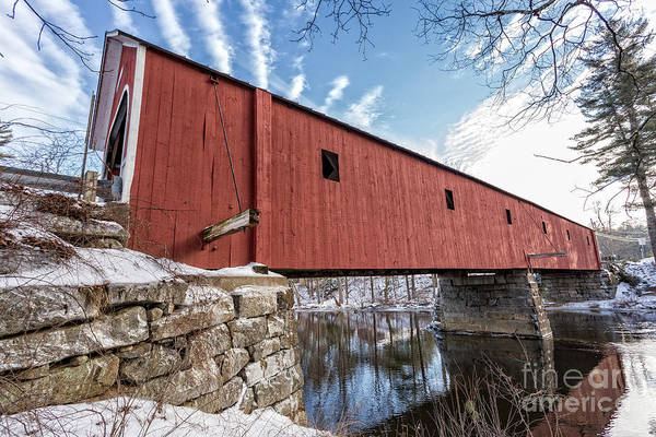 Red Covered Bridge Photograph - Sawyer Crossing Or Cresson Bridge 1859 by Edward Fielding
