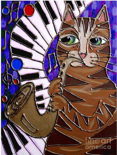 Piano Bar Painting - Sax Cat 2 by Cynthia Snyder