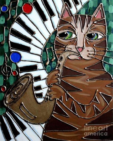 Piano Bar Painting - Sax Cat by Cynthia Snyder
