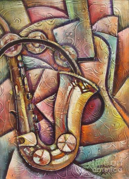 Sax Painting - Sax Moods by Alphanso  Blake