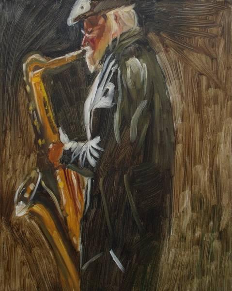 Sax Painting - Sax Player by Elena Sokolova