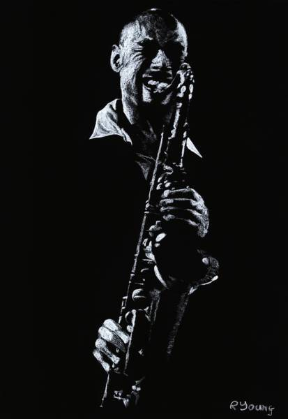 Wall Art - Drawing - Sax Player by Richard Young