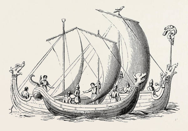 Old Style Drawing - Saxon Ships From An Old Ms by English School