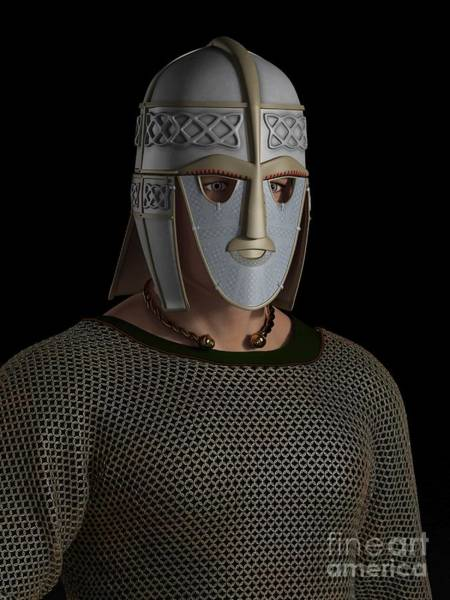 Facemask Digital Art - Saxon Warrior Chieftain Portrait by Fairy Fantasies