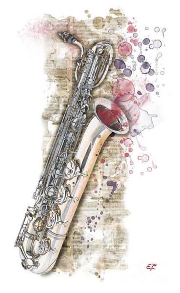 Wall Art - Painting - Saxophone 01 - Elena Yakubovich by Elena Yakubovich