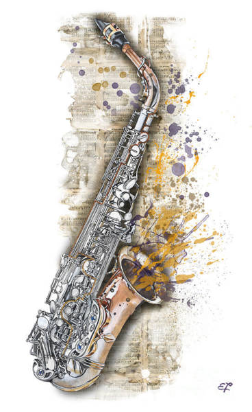 Wall Art - Painting - Saxophone 02 - Elena Yakubovich by Elena Yakubovich