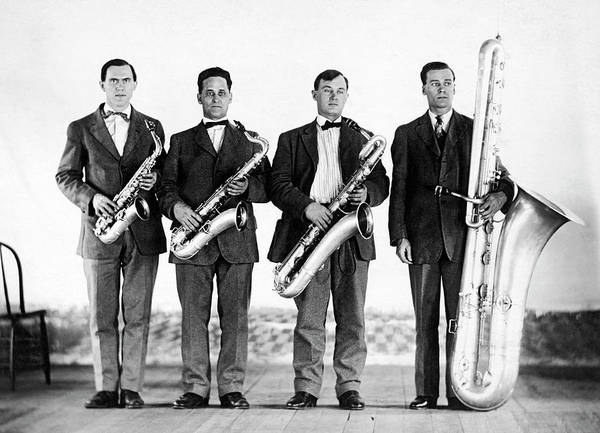 Photograph - Saxophone Band by Underwood Archives
