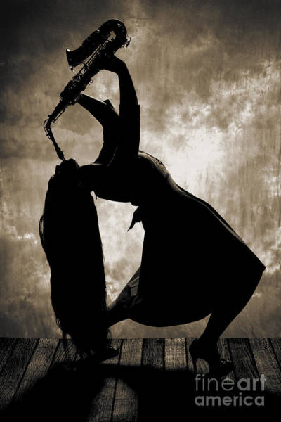 Photograph - Saxophone Girl In Silhouette In Sepia 3207.01 by M K Miller