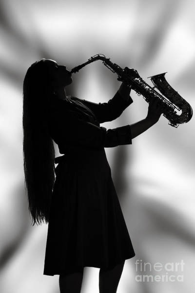 Photograph - Saxophone Girl Musician In Window In Sepia 3270.01 by M K Miller